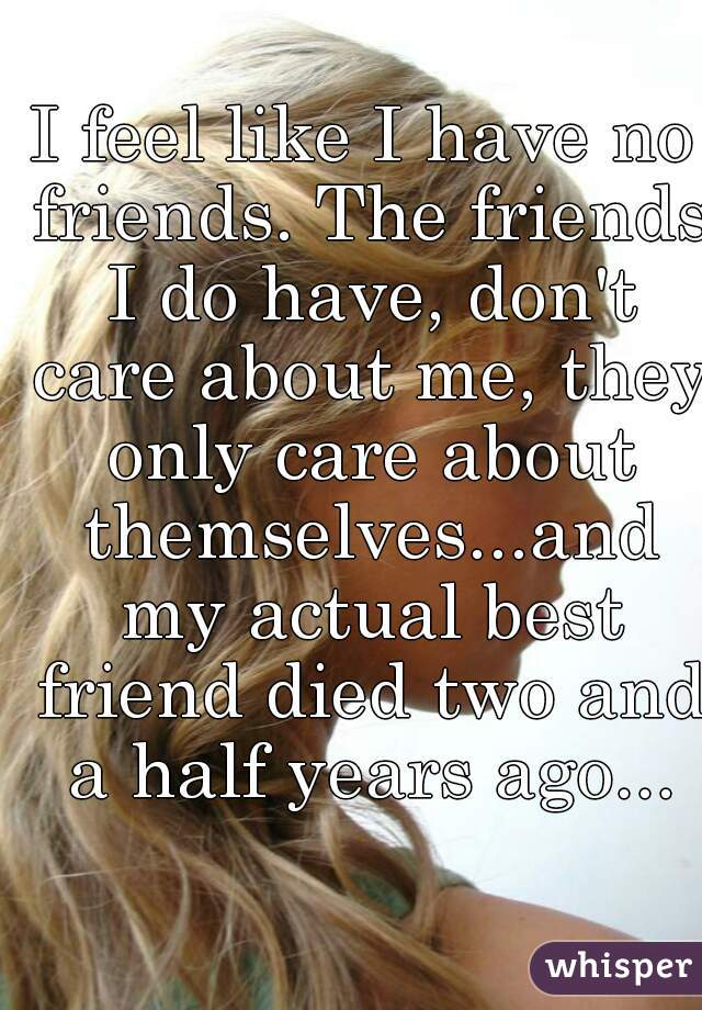 I feel like I have no friends. The friends I do have, don't care about me, they only care about themselves...and my actual best friend died two and a half years ago...