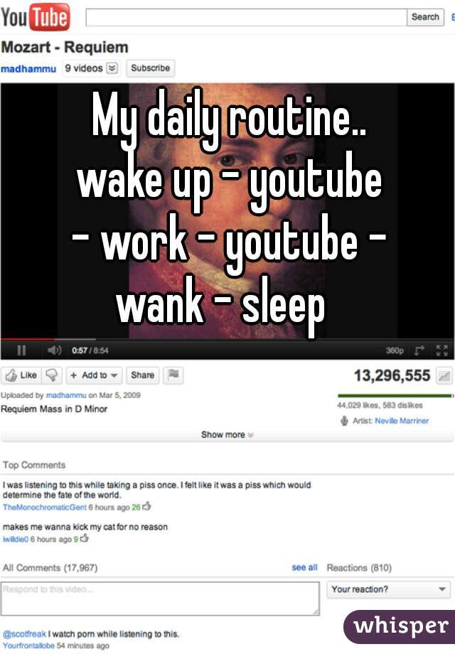 My daily routine.. wake up - youtube  - work - youtube -  wank - sleep