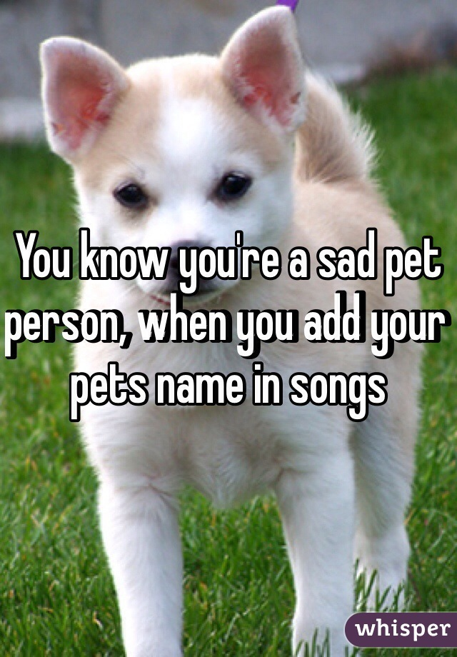 You know you're a sad pet person, when you add your pets name in songs