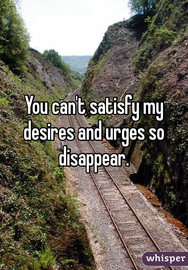 You can't satisfy my desires and urges so disappear.