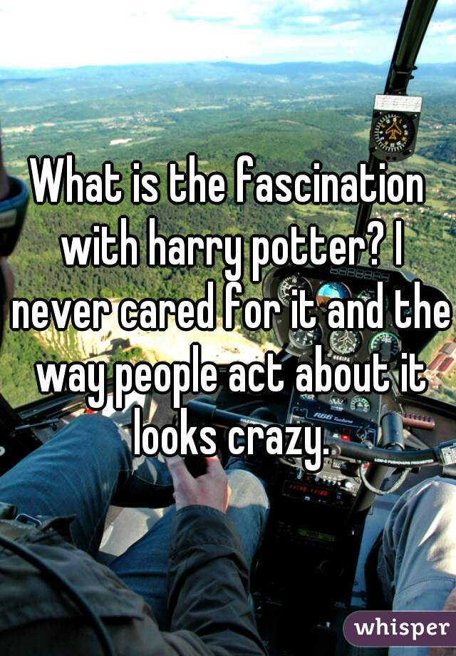 What is the fascination with harry potter? I never cared for it and the way people act about it looks crazy.