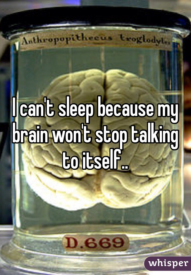I can't sleep because my brain won't stop talking to itself..