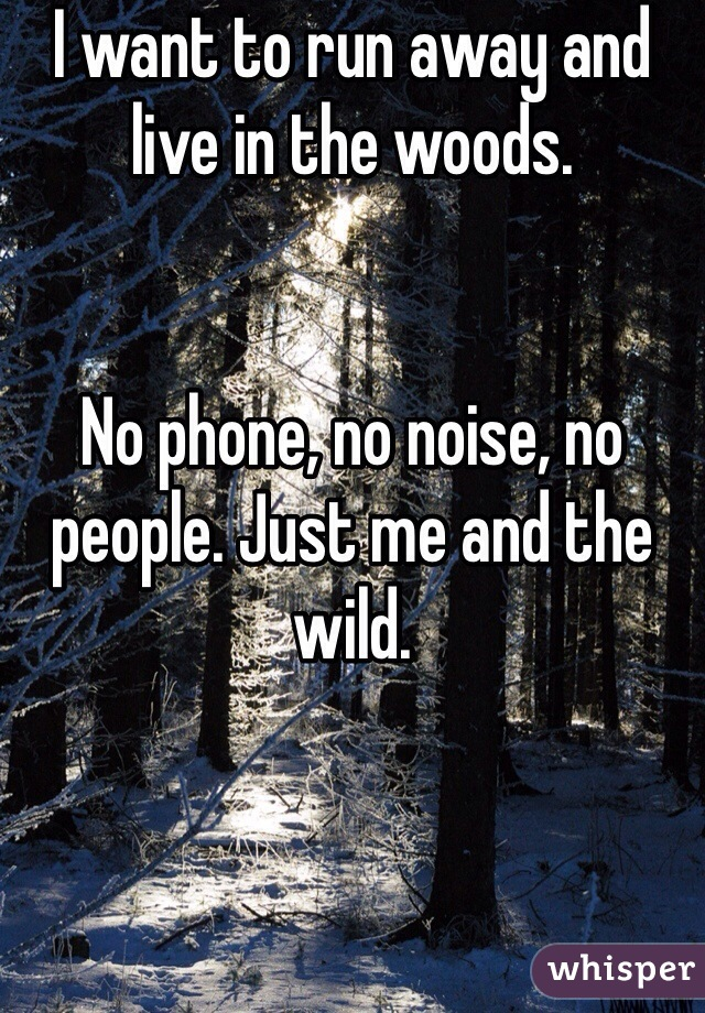 I want to run away and live in the woods.   No phone, no noise, no people. Just me and the wild.