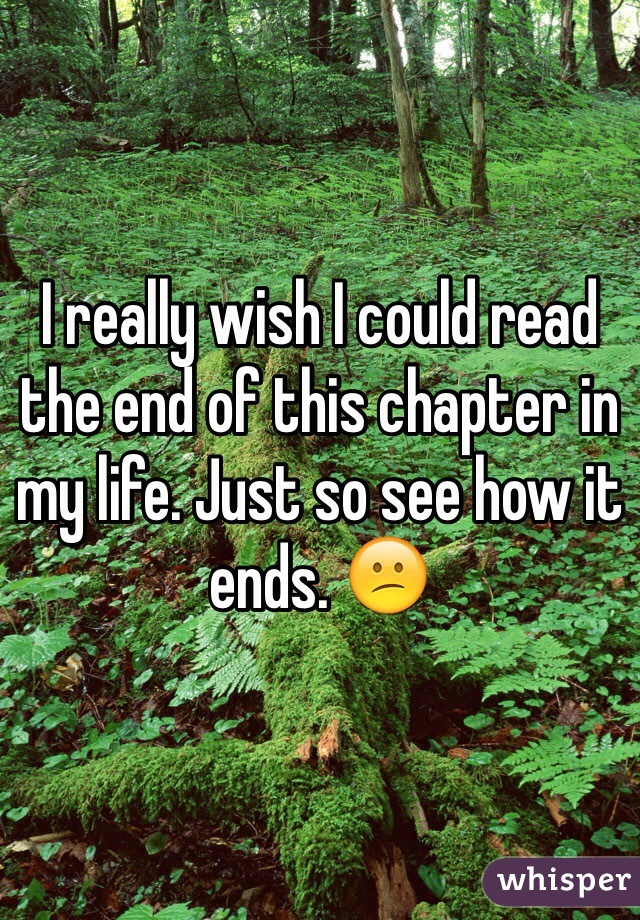 I really wish I could read the end of this chapter in my life. Just so see how it ends. 😕