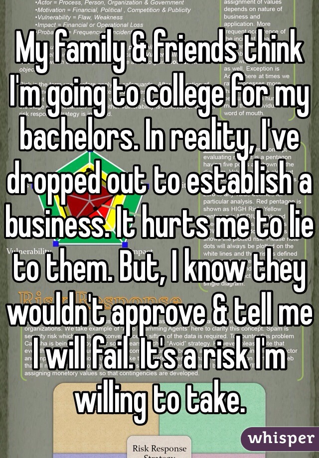My family & friends think I'm going to college for my bachelors. In reality, I've dropped out to establish a business. It hurts me to lie to them. But, I know they wouldn't approve & tell me I will fail. It's a risk I'm willing to take.