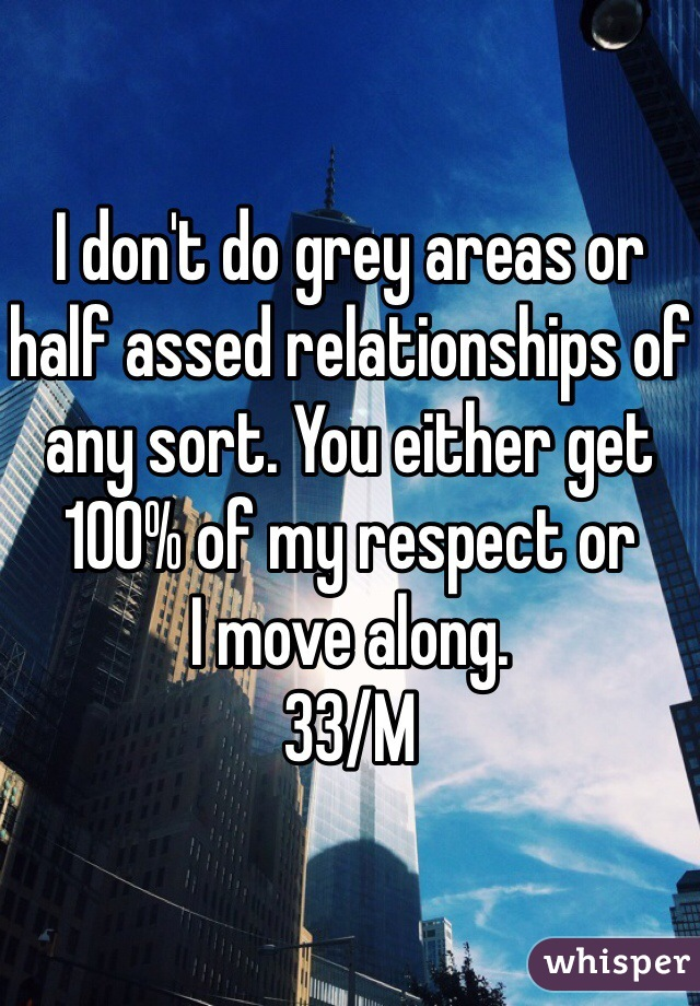 I don't do grey areas or half assed relationships of any sort. You either get 100% of my respect or  I move along.  33/M