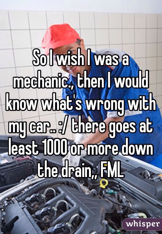 So I wish I was a mechanic., then I would know what's wrong with my car.. :/ there goes at least 1000 or more down the drain,, FML
