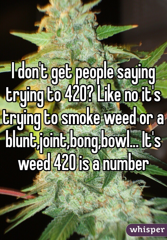 I don't get people saying trying to 420? Like no it's trying to smoke weed or a blunt,joint,bong,bowl... It's weed 420 is a number