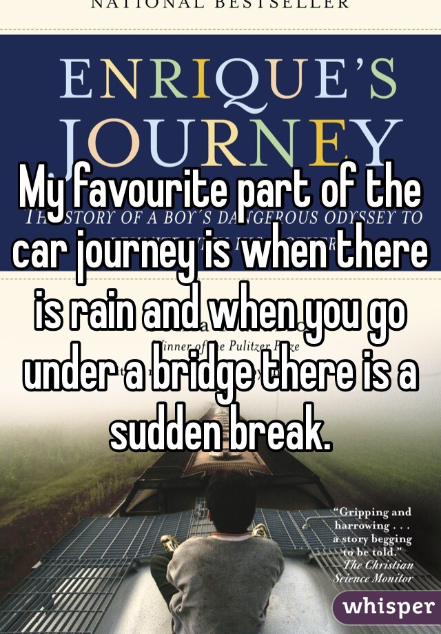 My favourite part of the car journey is when there is rain and when you go under a bridge there is a sudden break.
