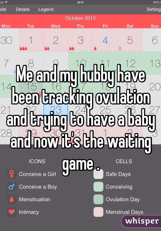 Me and my hubby have been tracking ovulation and trying to have a baby and now it's the waiting game .