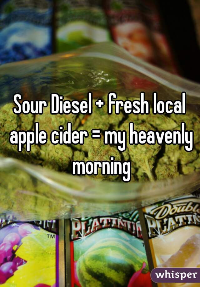 Sour Diesel + fresh local apple cider = my heavenly morning