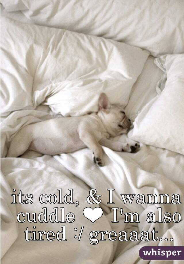 its cold, & I wanna cuddle ❤ I'm also tired :/ greaaat...