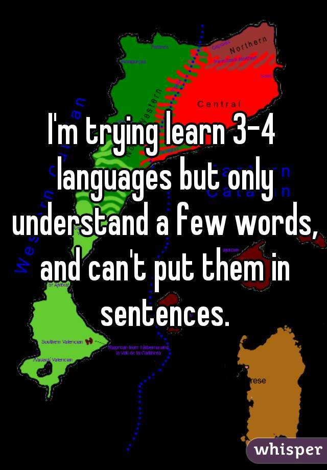 I'm trying learn 3-4 languages but only understand a few words, and can't put them in sentences.