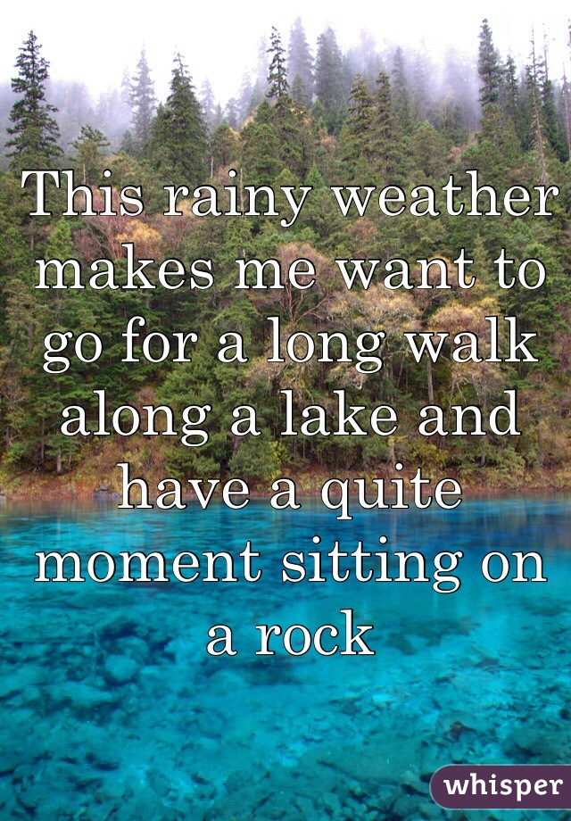 This rainy weather makes me want to go for a long walk along a lake and have a quite moment sitting on a rock