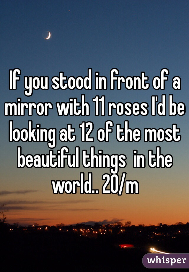If you stood in front of a mirror with 11 roses I'd be looking at 12 of the most beautiful things  in the world.. 20/m