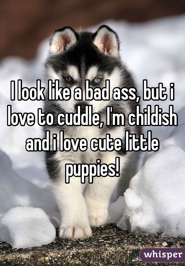 I look like a bad ass, but i love to cuddle, I'm childish and i love cute little puppies!