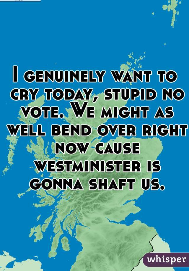 I genuinely want to cry today, stupid no vote. We might as well bend over right now cause westminister is gonna shaft us.