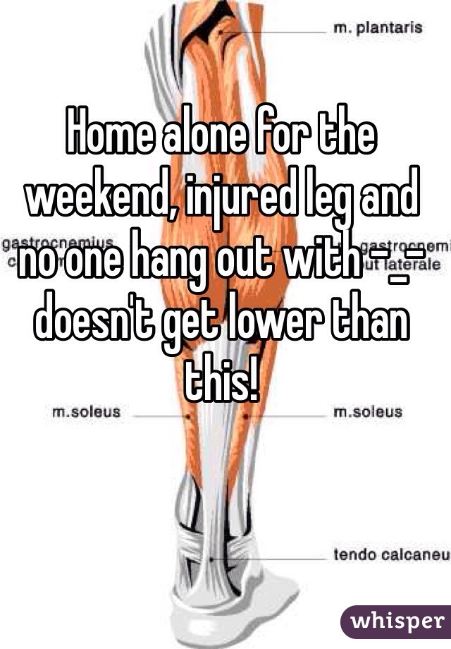 Home alone for the weekend, injured leg and no one hang out with -_- doesn't get lower than this!