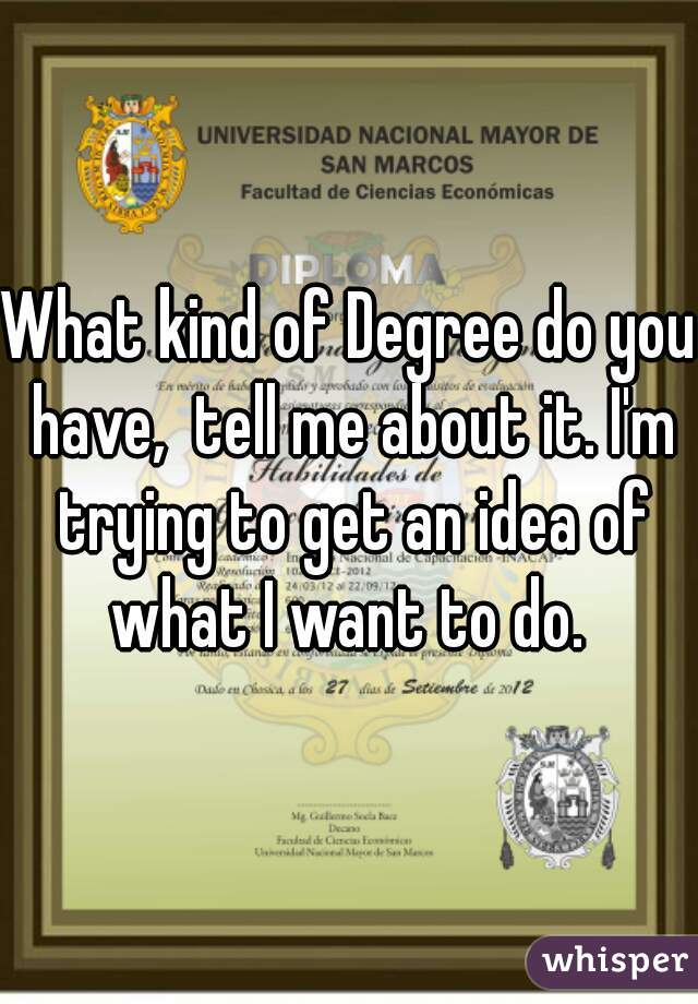 What kind of Degree do you have,  tell me about it. I'm trying to get an idea of what I want to do.