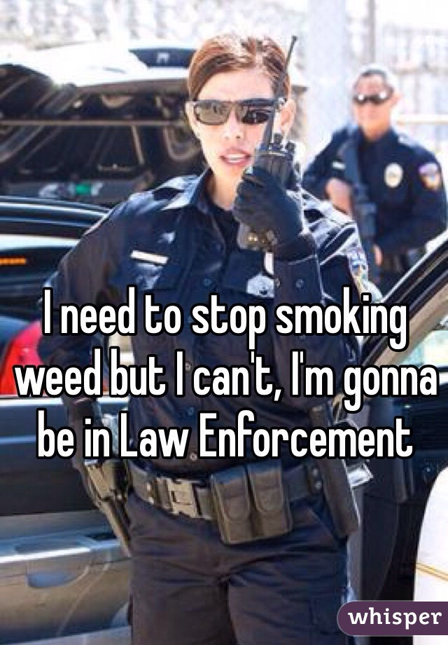 I need to stop smoking weed but I can't, I'm gonna be in Law Enforcement