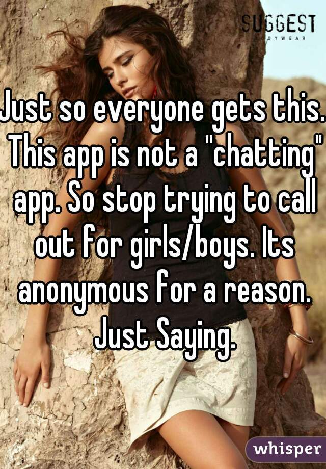 "Just so everyone gets this. This app is not a ""chatting"" app. So stop trying to call out for girls/boys. Its anonymous for a reason. Just Saying."
