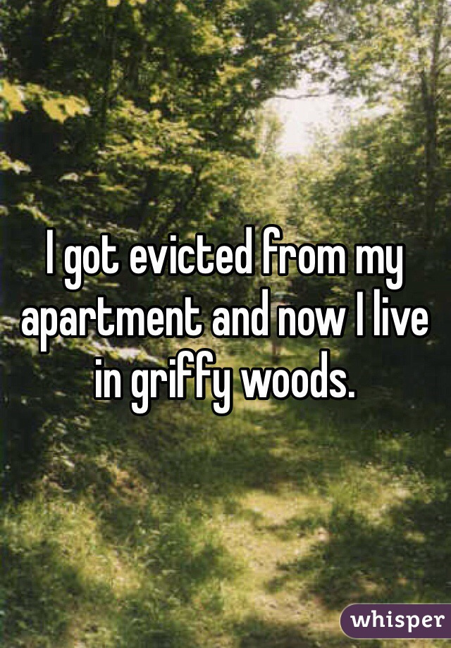 I got evicted from my apartment and now I live in griffy woods.