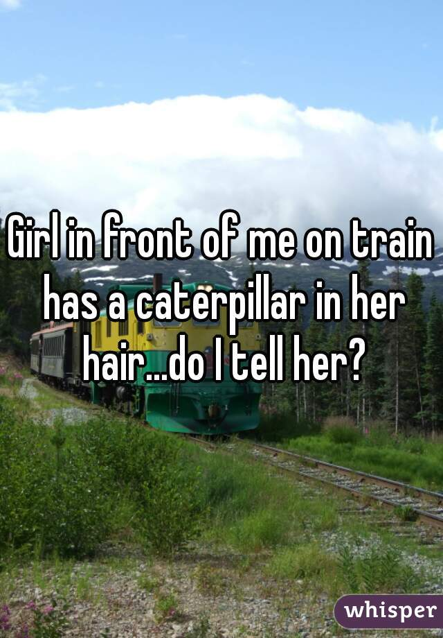 Girl in front of me on train has a caterpillar in her hair...do I tell her?