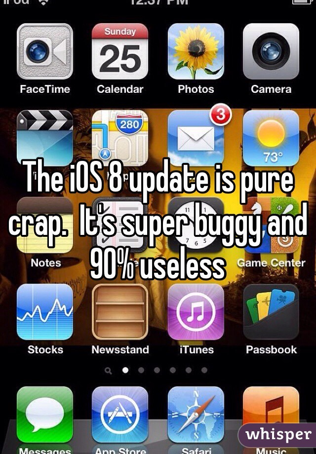 The iOS 8 update is pure crap.  It's super buggy and 90% useless
