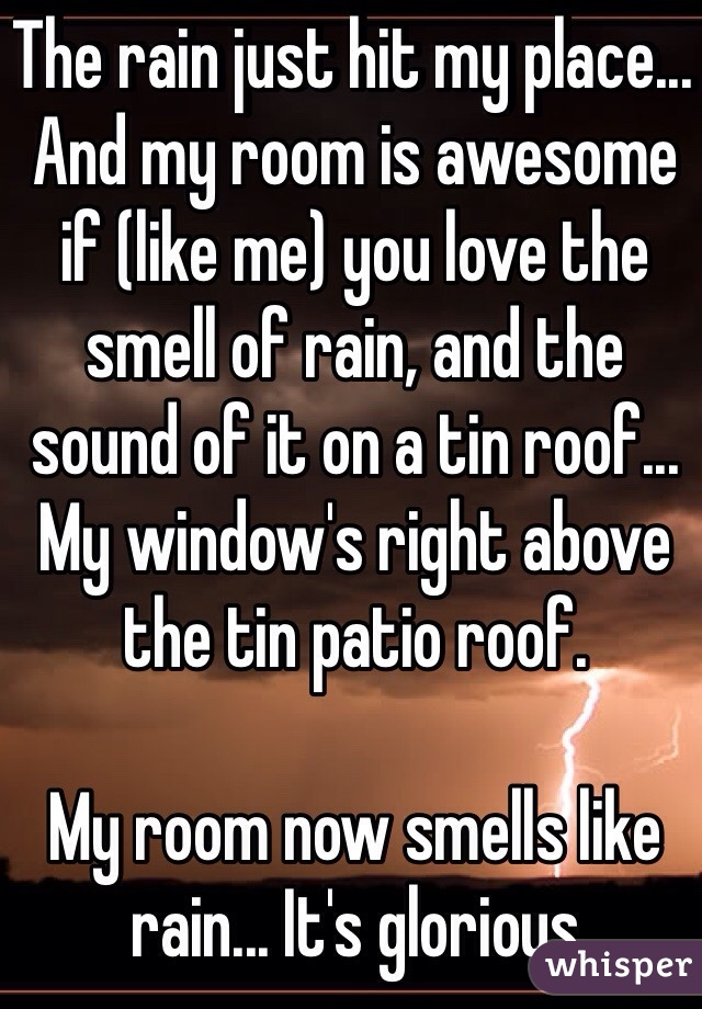 The rain just hit my place... And my room is awesome if (like me) you love the smell of rain, and the sound of it on a tin roof... My window's right above the tin patio roof.  My room now smells like rain... It's glorious