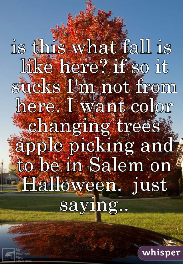 is this what fall is like here? if so it sucks I'm not from here. I want color changing trees apple picking and to be in Salem on Halloween.  just saying..