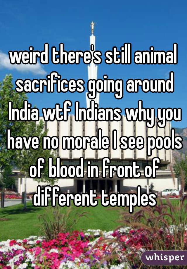 weird there's still animal sacrifices going around India wtf Indians why you have no morale I see pools of blood in front of different temples