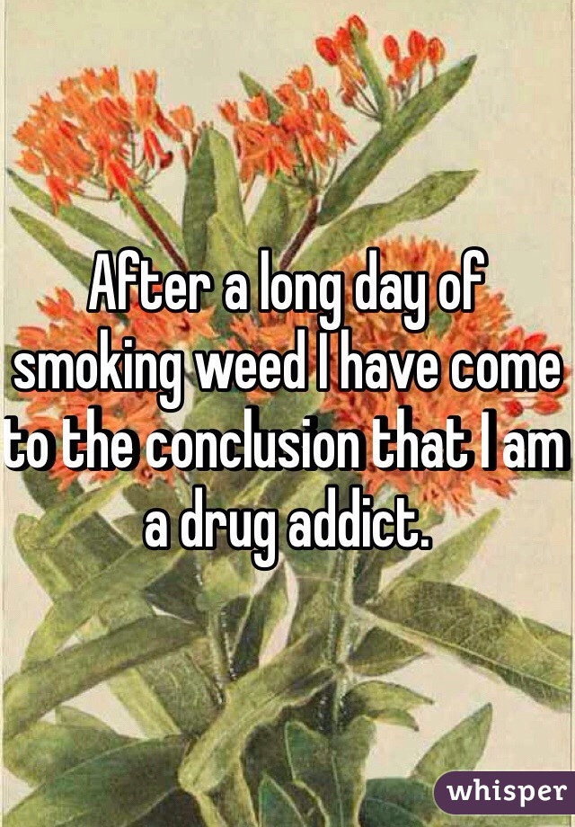 After a long day of smoking weed I have come to the conclusion that I am a drug addict.