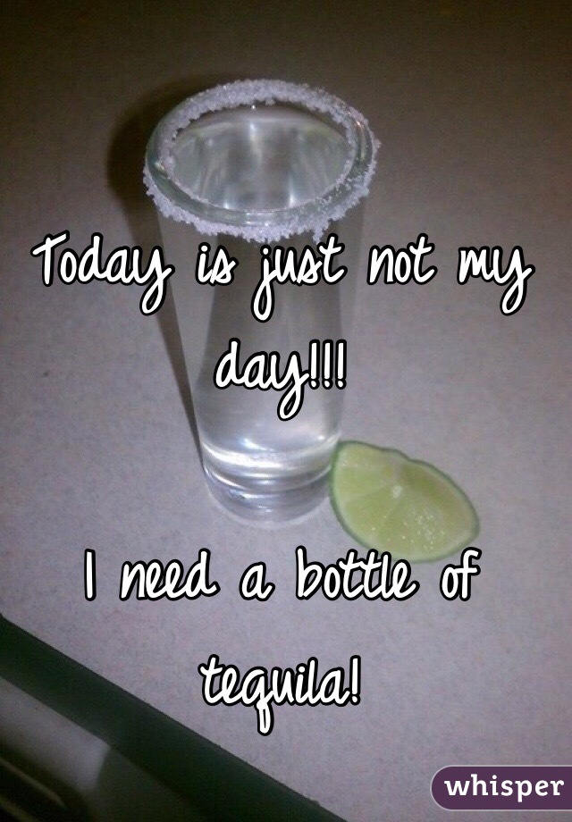 Today is just not my day!!!   I need a bottle of tequila!
