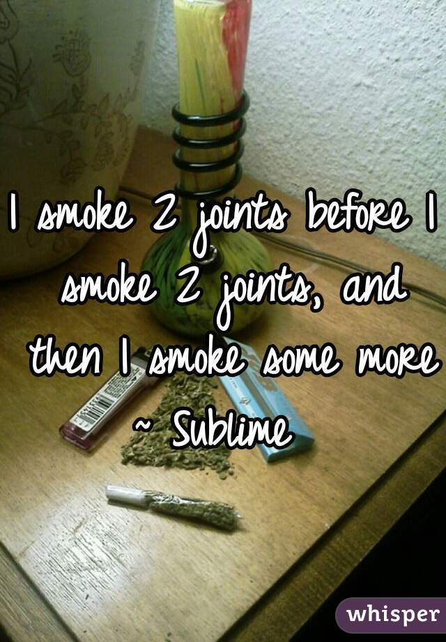 I smoke 2 joints before I smoke 2 joints, and then I smoke some more  ~ Sublime