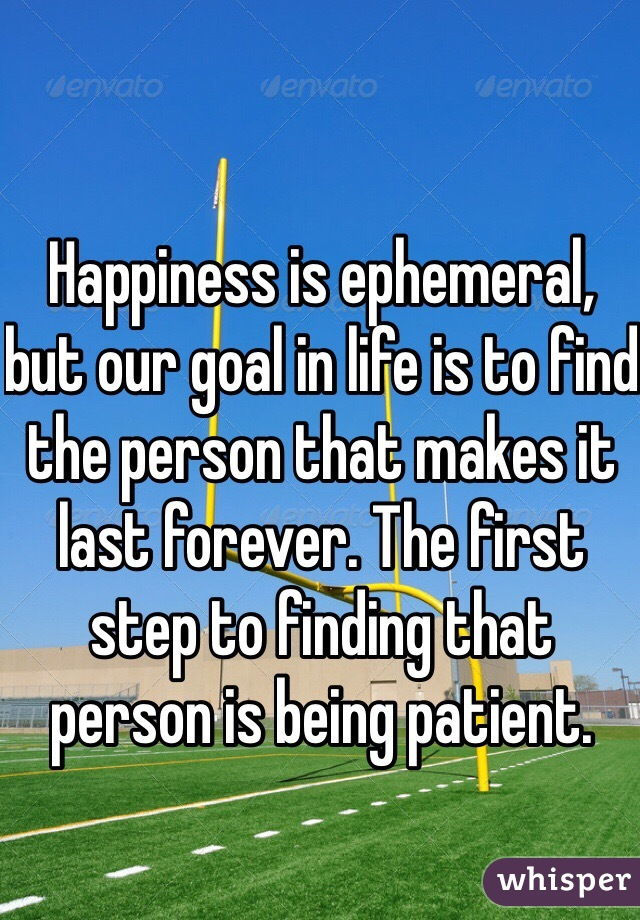 Happiness is ephemeral, but our goal in life is to find the person that makes it last forever. The first step to finding that person is being patient.