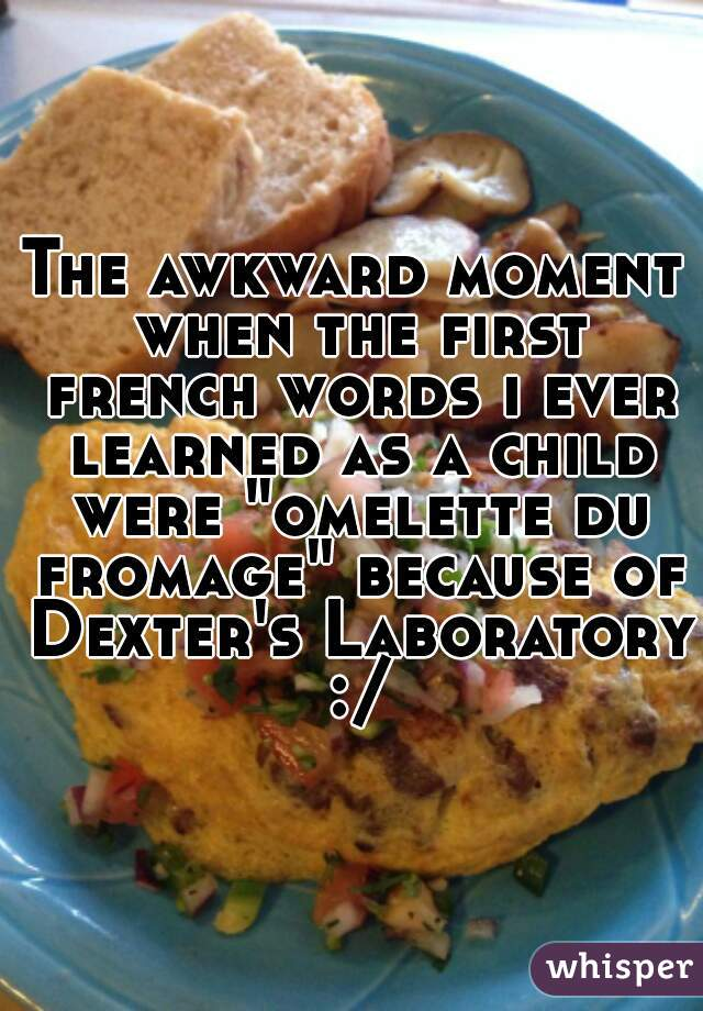 "The awkward moment when the first french words i ever learned as a child were ""omelette du fromage"" because of Dexter's Laboratory :/"