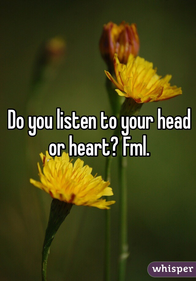 Do you listen to your head or heart? Fml.