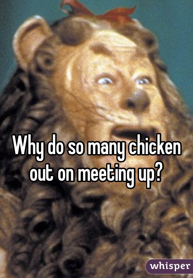 Why do so many chicken out on meeting up?