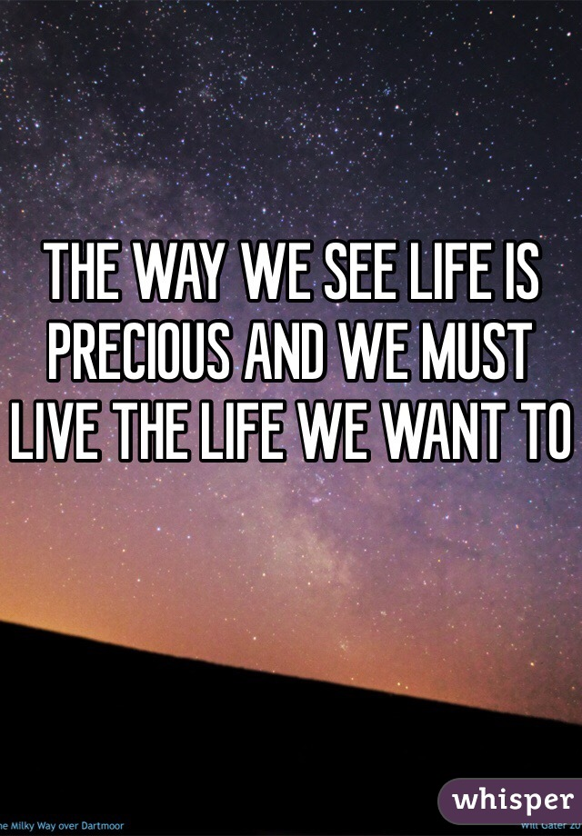 THE WAY WE SEE LIFE IS PRECIOUS AND WE MUST LIVE THE LIFE WE WANT TO