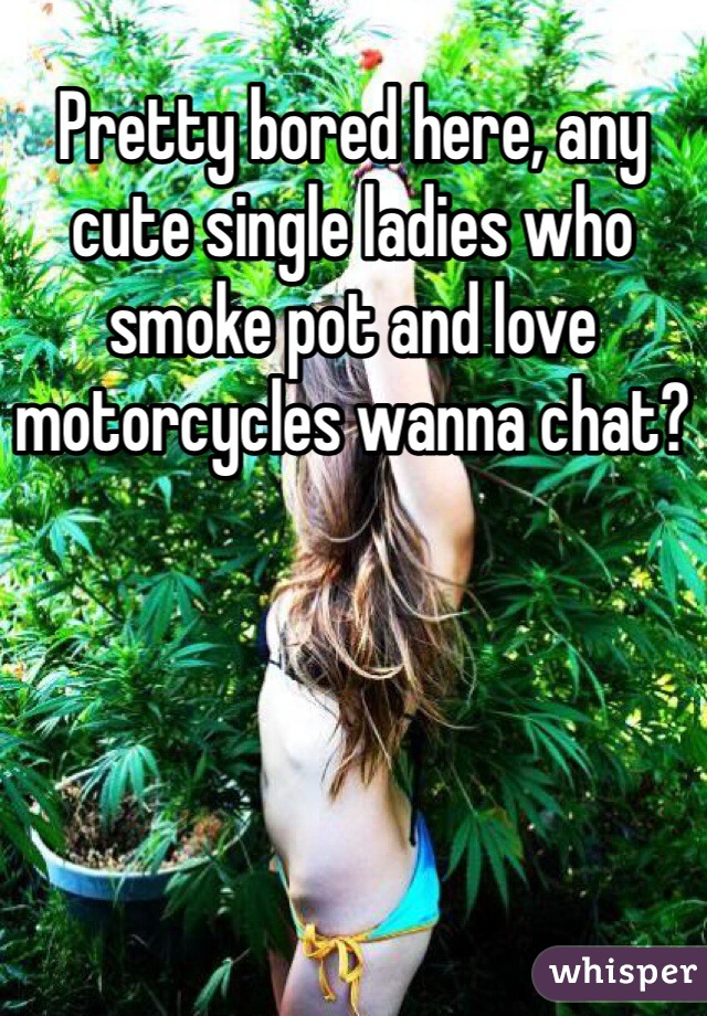 Pretty bored here, any cute single ladies who smoke pot and love motorcycles wanna chat?