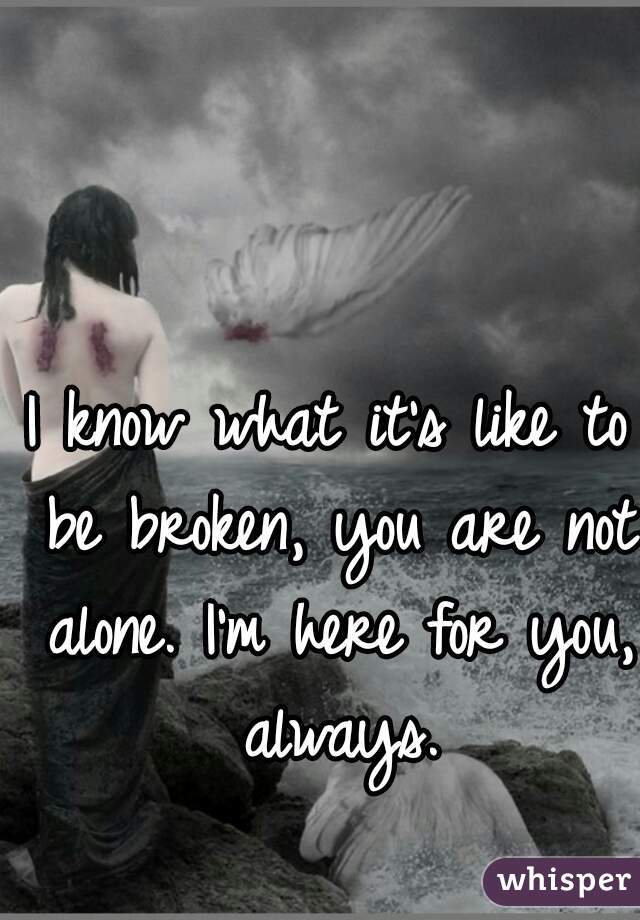 I know what it's like to be broken, you are not alone. I'm here for you, always.