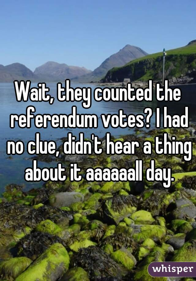 Wait, they counted the referendum votes? I had no clue, didn't hear a thing about it aaaaaall day.