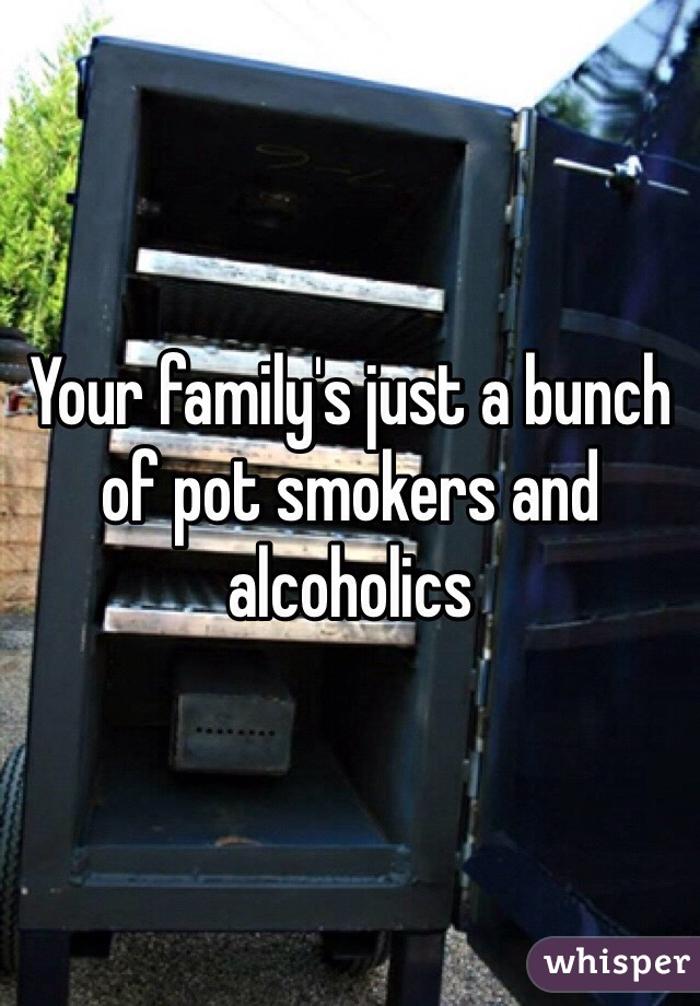 Your family's just a bunch of pot smokers and alcoholics