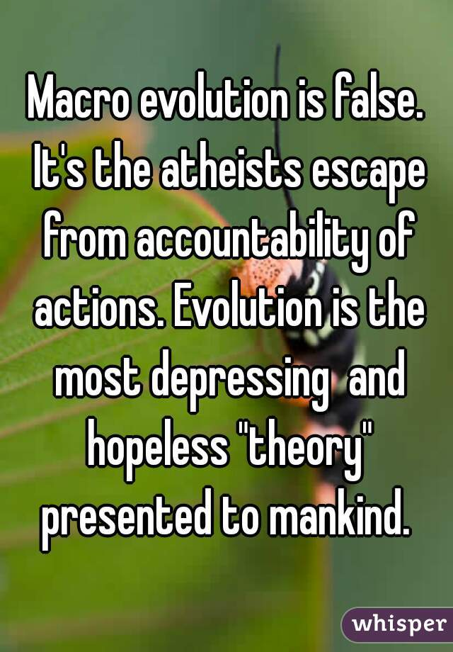 "Macro evolution is false. It's the atheists escape from accountability of actions. Evolution is the most depressing  and hopeless ""theory"" presented to mankind."