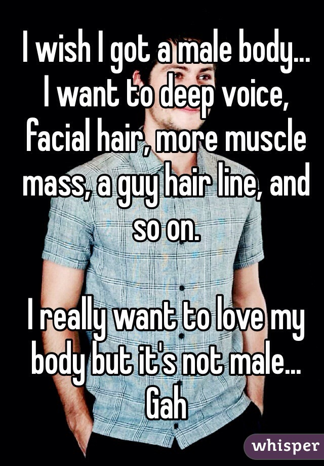 I wish I got a male body... I want to deep voice, facial hair, more muscle mass, a guy hair line, and so on.  I really want to love my body but it's not male... Gah