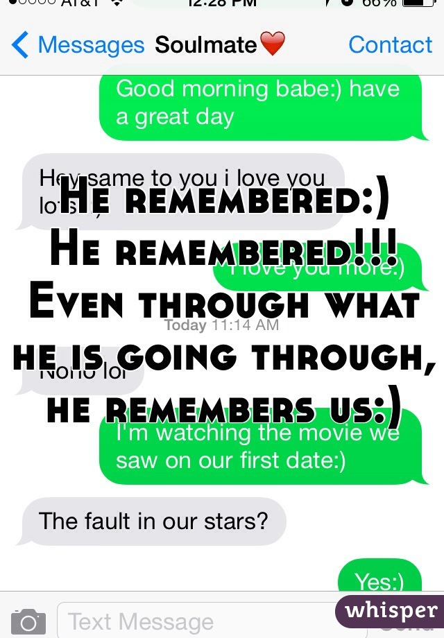 He remembered:)  He remembered!!!  Even through what he is going through, he remembers us:)
