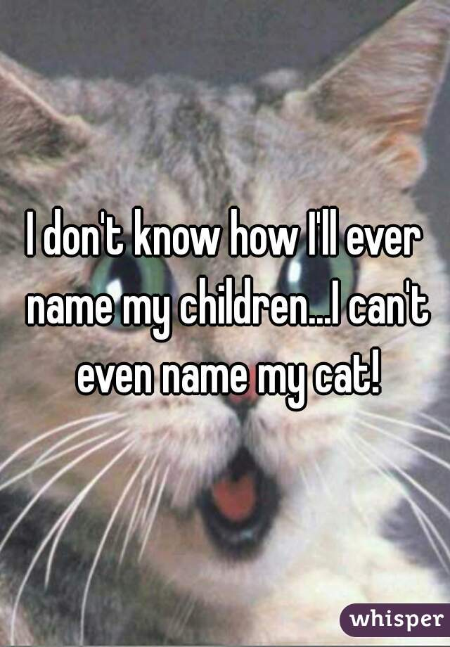 I don't know how I'll ever name my children...I can't even name my cat!
