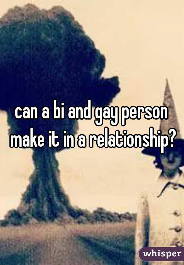 can a bi and gay person make it in a relationship?