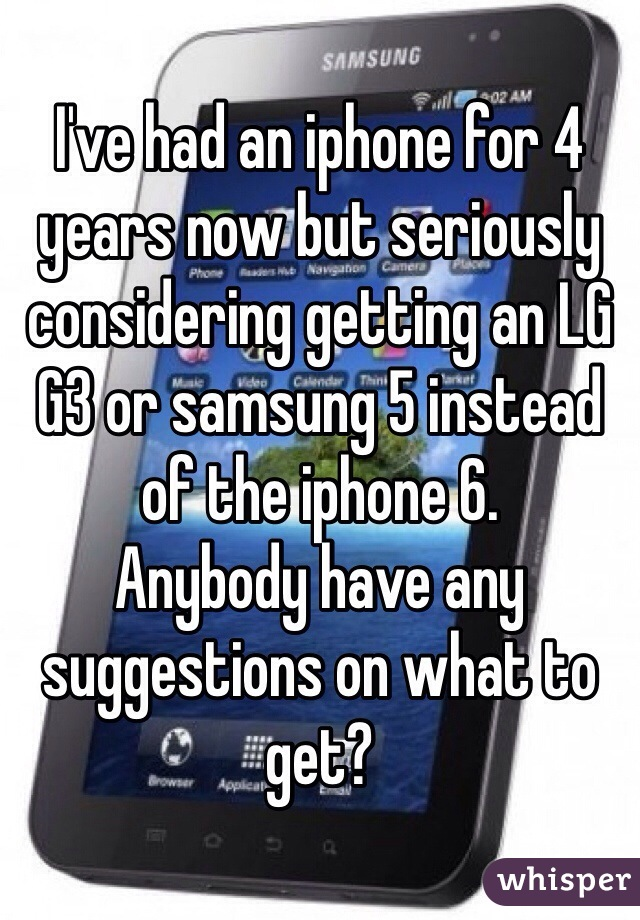 I've had an iphone for 4 years now but seriously considering getting an LG G3 or samsung 5 instead of the iphone 6.  Anybody have any suggestions on what to get?