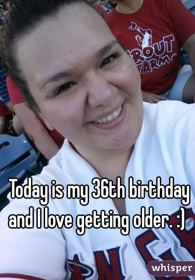 Today is my 36th birthday and I love getting older. :)